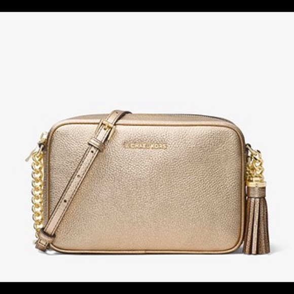 5e1c7ca8fd New Michael Kors Ginny Metallic Leather Crossbody